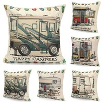 Travel Cushion Covers Happy Campers pillowcase Touring Cars ...