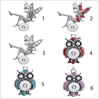 Noosa Baykuş Karışık 12mm Yapış Düğmeler Takılar Kristal Kalp Çok Kolye Kolye Paslanmaz Çelik Zincir Takı