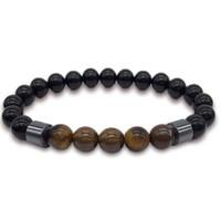 Novas Pulseiras Lava Pedra Obsidiana Magnética Hematita Beads Vert Magnit Wrist Band Homens Presente Criativo