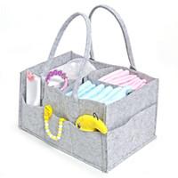 Fralda do bebê caddy cinza berçário fraldas tote bin multifuncional saco de armazenamento grande organizador de viagem de carro portátil sentiu cesta saco