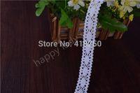 200 yardas de color blanco de algodón de encaje de ganchillo cinta de encaje ancho al por mayor 21 mm. Ajuste de encaje Boda boda