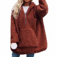Laamei Kadınlar Faux Lambswool Kalın Kadın Ceket Ceket Boy Kış Sıcak Teddy Coat Kapşonlu Kürk Giyim Kadın Palto