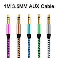 Cavo audio jack a nylon da 1 m da 3,5 mm a 3,5 mm Cavo AUX 3FT maschio a maschio Plug Auto AUX Musica del cavo AUX per iPhone 7 Altoparlante del telefono cellulare Samsung