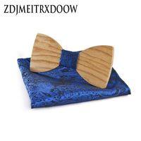 Noel hediyesi Düğün Ahşap Yay Bağları Ile Hanky Seti Kravatlar Erkekler Için DIY Tasarım Mens Cep Kare Ahşap kravat Gravata bowties