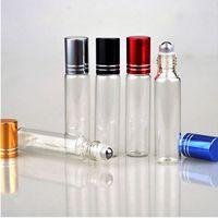 10ML Travel Clear Roller Refillable Шариковый Стеклянная бутылка духов бальзамы для губ Roll On Бутылки Бесплатная доставка