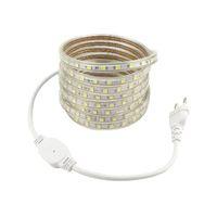 AC 220 V LED Şerit Işık Ile AB Tak 5050 Su Geçirmez Bant 1 M 2 M 3 M 4 M 5 M 6 M 7 M 8 M 9 M 220 V Şerit Bant Lambası Şerit Sıcak Soğuk Beyaz Mavi Kırmızı