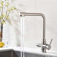 Wheelton rubinetto della cucina flessibili in acciaio inox spazzolato filo 360 girevole a 3 vie con acqua filtrata Spray (polverizzatori) Miscelatore