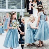 Belle robe de fille de fleur bleue pâle pour mariage avec dentelle Appliques Thé Longueur Tulle Vintage premier cummunion robes pas cher