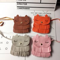 Children fringe pocket bag cute cat shoulder messenger bag w...