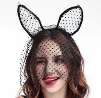 Sınır-ötesi yeni parti kedi bantlar dantel nokta kedi kulaklar saç bandı veils Cadılar Bayramı şapkalar toptan