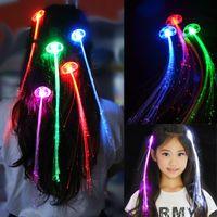 Leuchtendes Licht LED Haarverlängerung Flash Braid Party Mädchen Haar Glowing Für Party Weihnachten Halloween Nacht Lichter Dekoration 7 Farben