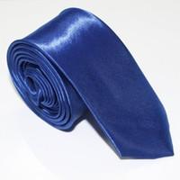Moda Hombres Mujeres Royal Azul Pegado Sólido Color Llano Satén Poliéster Seda Corbata Corbata Corbata Cuello TIES 20 Colores 5cmx145cm