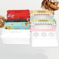 Cupcake box with window handle Roll Cake Kraft Paper Gift Pa...