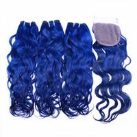 Синяя Цветная Волна Волна Волны Человеческие Волосы Плетение с кружевной закрытием Чистые покрашенные бразильские Малайзийские волосы девственницы, утка с свободной частью 4x4
