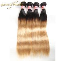 T1B / 27 # Ombre Индийские Перуанские Малайзии Прямые Плетение Волос Пучки Два Тона Черная Блондинка Бразильский Девы Человеческих Волос Бесплатная Доставка