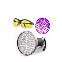 390-400NM 100LED UV lampe de poche noir lumière pour animaux de compagnie urine tapis mouchoirs lampe de poche détecteur de billets de banque avec UV lunettes de sécurité lunettes de sécurité