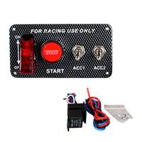 무료 배송 탄소 섬유 더블 위치 12V Lgnition 스위치 패널 레이싱 카 시작 스위치 엔진 시작 푸시 버튼 LED 토글