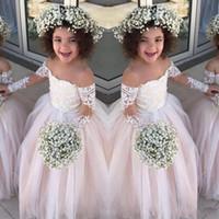 Şeffaf Uzun Kollu Küçük Kızlar Yarışması Gowns Tül Balo Çiçek Kız Elbise Düğün Bebek Doğum Parti İçin Elbise Ucuz Dantel