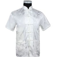 White Chinese Men Summer Leisure Shirt High Quality Silk Ray...