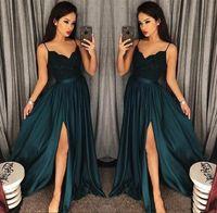 2019 Elegante Abendkleider A-Linie Schwarz-Grün High Split Ausschnitt Seitenschlitz Spitze Top Sexy Arabisch Sweep Zug Formale Party Prom Kleider