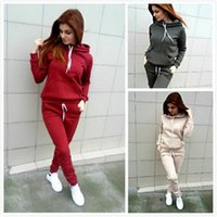 Autumn Winter Women Tracksuits Solid Color Hooded Suit Hoodi...