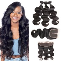 Peruvian Silk Hair Body Wave With Lace Closure Free Middle O...