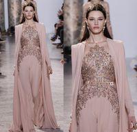 2020 Elie Saab Vestidos Wear mangas compridas Sheer Jewel decote frisada Evening Vestidos Chiffon formal Vestidos HY4206