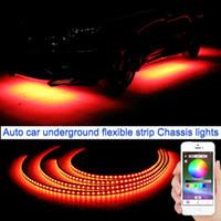Araba RGB LED Şerit LED Altında Araç Glow Underbody Sistemi Neon Işık geçirmez oto araba tasarım / 120cm Molls Uygulama kontrolü 90