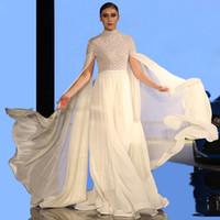 Blanc élégant une ligne Robe de soirée Abrique avec enveloppe à col haut manches longues à manches longues paillettes et perles de guiche de célébrité musulmanes