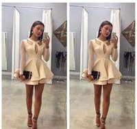 Cheap Short Homecoming Dress With Long Sleeves A Line Sweet ...