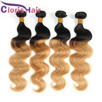 Deux tons 1B 27 Ombre Weaves Raw Indien Péruvienne Vierge Cheveux 3 Bundles Miel de Couleur Blonde Vague de Corps de Cheveux Humains extensions de cabello
