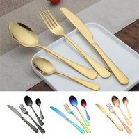 الفولاذ المقاوم للصدأ الذهب أطباق مجموعات ملعقة شوكة سكين الشاي ملعقة المائدة مجموعة المطبخ بار إناء 4 نمط مجموعات WX9-377