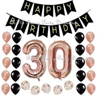 30th 50th 60th Birthday Party Decoration Supplies with Black Happy Birthday Banner 40inch Rose Gold Number Balloons