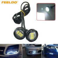 FEELDO 2 ADET Beyaz Araba 3 W 23mm Lens Ultra-ince 5630 3SMD LED Kartal Göz Kuyruk işık Yedekleme Arka Lamba DRL Işık # 1423