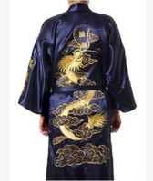 1pcs / lot frete grátis homem do estilo coreano casuais cetim verão pijama impressão robe masculino cetim de seda dos homens chineses veste do dragão