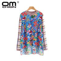 Omchion blusas mujer 2018 novo com nervuras xadrez o pescoço das mulheres tops e blusas casual manga comprida camisa de impressão floral verão top qs313