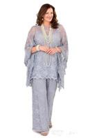 2018 lilac rendas mãe da calça da noiva ternos mangas compridas Três peças Mulheres formais Plus Size Noivo do Noivo Vestido