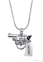 New Design Gun Gaiola Pingente, Forma de Pistola Pérola Gotas de Contas Medalhão Pingente de Montagem, Jóias DIY Encantos Acessório P70
