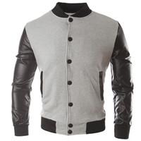 Новый тренд Black College Бейсбол Куртка Мужчины / Мальчик Veste Homme Повседневная Pu кожаная рукава Мужская толстовка Varsity Jackets For Fall