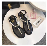 208 summer new Baita pearl diamond flip flops leather simple...