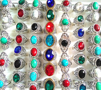 Wholesale 50PCS Top Mixed Noble Big Stone Rings Turquoises & Clear Crystal Women's Men's Exquisite Elegant Finger Ring Beautiful Jewelry Lot