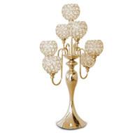 элегантный новый 7 arms канделябры свадьба центральный золотой канделябры с хрустальным шаром канделябры для украшения свадебного стола