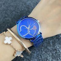 M 디자인 브랜드 석영 손목 여성 여자 다채로운 크리스탈 사랑 심장 모양 스타일의 금속 스틸 밴드 M55을위한 시계