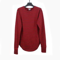 Red Striped T - Shirt Fashion Brand Summer Long Oversize Exte...