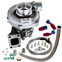 T3 / T4 T04E .57 A / R Performance TurboCharger + Huile Feed Retour Line Kit 300 + HP Turbo refroidi à l'huile pour 1,6-2,5L Insuffisance intérieure interne