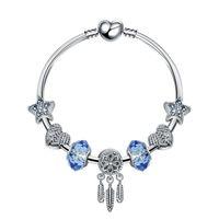 regalo 18 + Beads fascino 3CM bracciali braccialetto di modo Dream Catcher Ciondolo 925 braccialetto blu stella Gioielli fai da te accessori da sposa