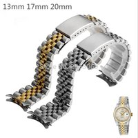 Silver&gold Stainless Steel WatchBand 13 17 20mm Solid Band ...