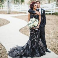 패션 검은 색 고딕 양식의 공주 웨딩 드레스 2017 레이스 맞춤 제작 신부 신부 웨딩 드레스 스위프 기차 가운 데 MARIAGE