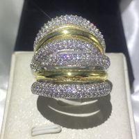 De la moda clásica 236pcs piedra de gema 5A circón 14KT Blanco Amarillo Gold Filled alianza de boda anillo de compromiso conjunto Sz 5-11