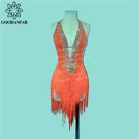 GOODANPAR Ärmellos Standard Fringe Latin Dance Kleid Frauen Mädchen Kostüm Flapper Salsa Samba Rumba Wettbewerb Kleidung